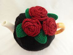 tea cosy cosie  cozys hand knitted  black   base and by TWINKKNITS.