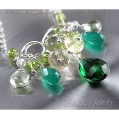 Green necklace emerald green gemstone sterling silver - Harmonia - Arctidas Creations