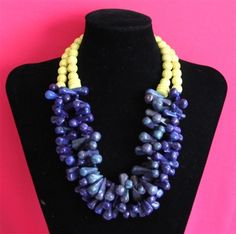 A statement necklace if I ever saw one! Noble House Designs. Mid Lane Necklace  (Yellow/Navy)