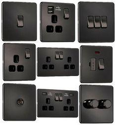 BRITISH GENERAL BLACK NICKEL FLAT PLATE LIGHT SWITCHES /& PLUG SOCKET SLIM PALTE