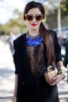 Beautiful cobalt blue necklace on dark