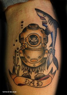 tattoo old school / traditional nautic ink - dive mask and shark (by Mr.Bram)