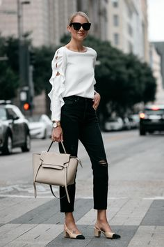 Blonde Woman Wearing Club Monaco White Ruffle Sleeve Top Frame Black Ripped Boyfriend Jeans Outfit Celine Belt Bag Chanel Slingbacks Fashion Jackson Dallas Blogger Fashion Blogger Street Style