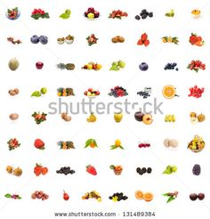 Sold! Stock photo : Collage of 64 pictures of different fruits on white background.