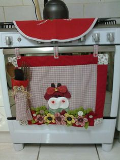 Hanging Panel from Oven Door -  Could be changeable to fit holidays or kitchen decor