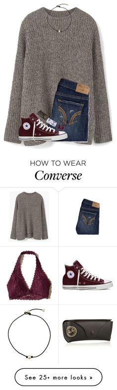 """""""going shopping✌(again)"""" by hgw8503 on Polyvore featuring MANGO, Hollister Co., Converse and Ray-Ban"""