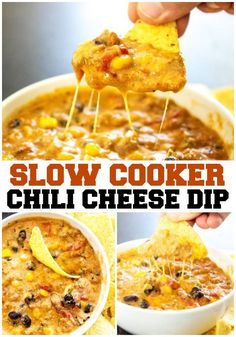 SLOW COOKER CHILI CHEESE DIP – Cheesy and full of flavor, this easy recipe will score a win on the game day and be a hit during the holidays. #dip #slowcookerrecipes #cheesedip #chilicheese #chili