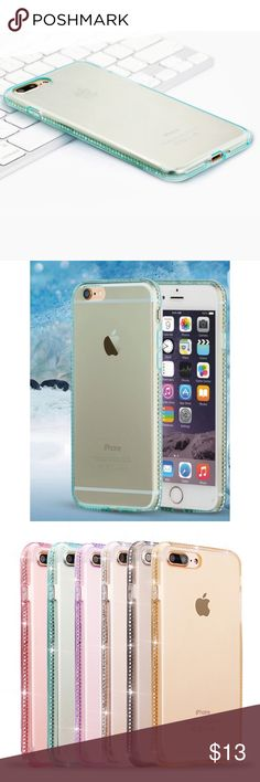Transparent Blue Rhinestone iPhone 7 Plus Case ➡️Discount Only With Bundle Of 2 Or More Items⬅️  Show off your iPhone  while protecting it from bumps and scratches.   * Soft Shell Premium Silicone * Beautiful Transparent Aqua Blue Color  *Rhinestone Studded Trim * Slim Design  * New In Package  * Same Or Next Day Accessories