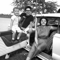 "This week in #1966 Roy Orbison found himself back in the studio recording songs for his #MGMYears album, ""Roy Orbison Sings Don Gibson,"" after having lost his beautiful young wife, Claudette, in a motorcycle accident earlier that year.  Roy sought solace in his work and in taking care of his children.  Here's a photo of Roy & Claudette with their oldest son, Roy Dewayne. #RoyOrbison"