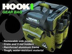 """The HOOK 1 """"MaxPak"""" keeps essential gear safely stored and secured. This rigid-frame bag has plenty of enclosed storage space and tubes for your fishing rods an The HOOK 1 """"MaxPak"""" Kayak Fishing Gear, Saltwater Fishing Gear, Kayaking Gear, Bass Fishing Tips, Best Fishing, Fishing Equipment, Fishing Boats, Fly Fishing, Fishing Lures"""