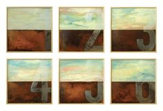 the whole #artwork Six landscapes in search of an author 2014 Oil painting and #rusty #iron Size 40×40 centimeters each #contemporaryart