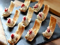 Nice serving idea: Danny Kingston serves up these pretty smoked mackerel canapés just in time for Christmas. These bites are all about balancing the rich smoked mackerel with light and sharp flavours of pickled ginger, cranberries and lime zest. Easy Canapes, Canapes Recipes, Pate Recipes, Appetizer Recipes, Cooking Recipes, Canapes Ideas, Smoked Mackerel Pate, Great British Chefs, Snacks