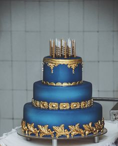 Blue And Gold Let Them Eat Cake In 2019 Pinterest Wedding