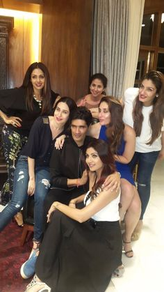Sridevi, Karisma Kapoor, Urmila Matondkar, Kareena Kapoor, Raveena Tandon and Shilpa Shetty with birthday boy Manish Malhotra. #Bollywood #Fashion #Style #Beauty #Hot #Sexy