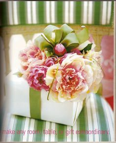 GAdd fresh or faux flower to create thei gorgeous gift wrapping #giftwrap #flowers