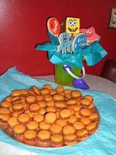 SpongeBob birthday goodies including good ol crabby patties