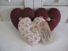 Primitive Handmade Set of 3 Valentine Fabric Heart Ornies with Tag Bowl Fillers | eBay