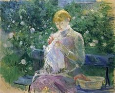 """One of """"les trois grandes dames"""" of Impressionism alongside Marie Bracquemond and Mary Cassatt, French painter Berthe Morisot was a painter and a member of the circle of painters in Paris who became known as the Impressionists. Mary Cassatt, Edouard Manet, Pierre Auguste Renoir, French Impressionist Painters, Berthe Morisot, Folk Embroidery, Camille Pissarro, Garden Painting, Edgar Degas"""