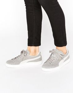 Puma Classic Suede Basket Sneakers In Grey-- these are so chill #grey #puma