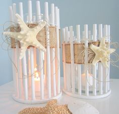 beach decor, beach, nautical, candle holder, white, bamboo
