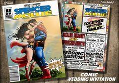 Comic Book cover Wedding invitationDigital or Printed por BowersInk