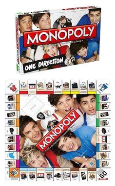 One Direction Monopoly board game. I want this soooooooooooooooooooooo badly! Wish list now <<I actually hv a 1D board game !!