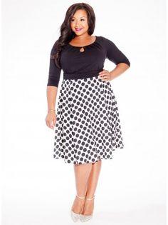 Morgan Plus Size Dress in Downtown Dot