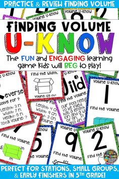 Students love playing U-Know games for fun REVIEW of finding volume or for test prep. It's a perfect activity for any small group or station, and great for early finishers. Volume U-Know is a fun learning game played similar to UNO except if you get an answer wrong, you have to draw two! Students will beg to practice finding volume in this way! Available in MANY other topics, too!