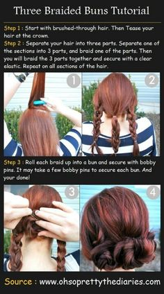 braids into mini buns.