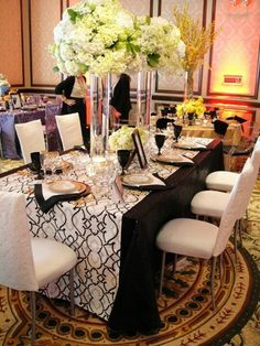 Black & White Resource One, Inc. 85th Birthday, Birthday Ideas, Wedding Linens, Linen Rentals, Color Theory, Tablescapes, Table Settings, Wedding Day, Black White