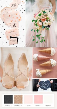 Whimsical modern colorboard: chalk, rose gold, blush, peony, frost // 100 layer cake