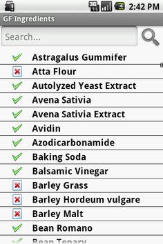 Gluten-free ingredients list app.