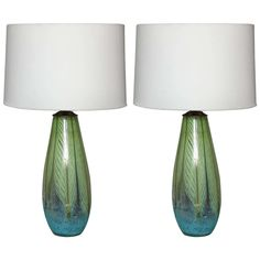 Pair of Feather Murano Glass Table Lamps   From a unique collection of antique and modern table lamps at…