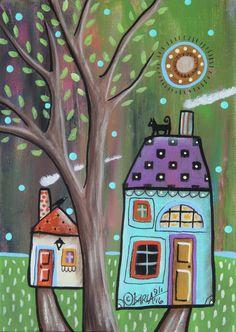 Late Summer ORIGINAL Canvas Panel PAINTING FOLK ART 5 x 7 tree houses Karla G #FolkArtAbstractPrimitive
