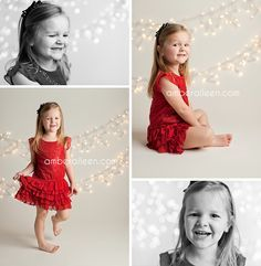 Little girl in red dress christmas lights pictures