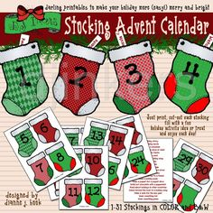 Stocking Advent Calendar printables
