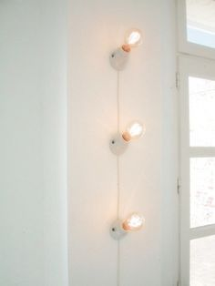 lights- porcelain bases, cloth-covered wire, silver-coat the bulb tops, run up the wall in dark corner...