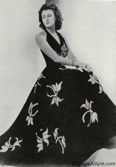 Madeleine Vionnet Bias-Cut   Madeleine Vionnet halter gown in black silk velvet accented with red ...