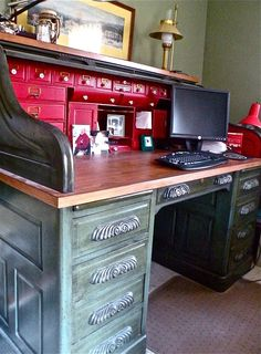 Our old roll top desk could use a redo like this.