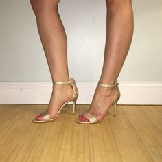 """Enzo Angiolini Manna Ankle Strap Sandal These shoes are brand new! They are gold iridescent. They have an open toe with an adjustable strap at the ankle. They have a 4"""" heel. They were only worn for photos. Leather upper, manmade sole Enzo Angiolini Shoes Sandals"""