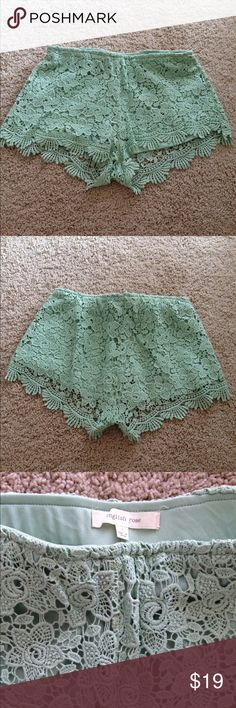 Lace shorts Part of the buy one get the other item half off deal.  Half off deal will be applied to lower priced item.  Light green rose pattern lace shorts.  Very cute on when worn.  First two pictures are true to color of this shorts. Shorts