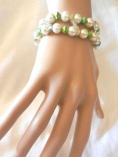 Green & Pearl White Glass Beads S Curve Rhinestone Stretch MUlti Row Bracelet