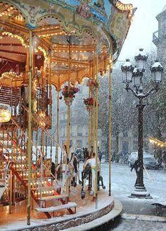 """this is a PHOTO ( place de l'Hotel de ville Paris ), Not """"Paris"""" -- Claude Monet. Have just seen the Monet exhibition in Melbourne - beautiful. Places To Travel, Places To See, Travel Destinations, Winter Szenen, Paris Winter, Paris Snow, Winter Time, France Winter, Winter Magic"""