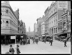 Elizabeth St,Melbourne in Victoria in the south towards Flinders Street Railway Station from Bourke St. Melbourne Tram, Melbourne Suburbs, Melbourne Australia, Melbourne Victoria, Victoria Australia, Elizabeth Street, Old Paris, Tasmania, Historical Photos
