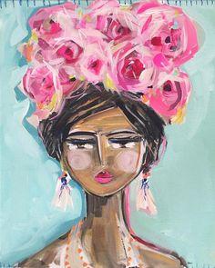 "Portrait PRINT on Paper or Canvas, ""Swim Cap"" | Maren Devine Art, LLC"