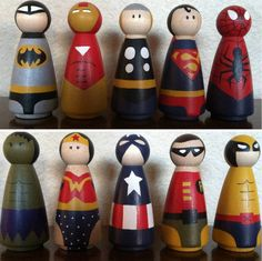 wooden superheros. click through to buy! :) These little wooden people are so cute and she puts such details on them. My grand kids love them and play with them for hours!!!