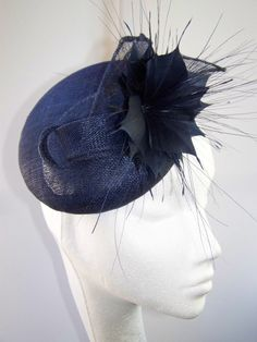 Navy sinamay knot cocktail hat BY KAREN GERAGHTY #HatAcademy #Millinery