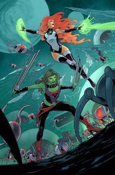Starfire and Gamora by Vasco Georgiev Dc Comics Vs Marvel, Arte Dc Comics, Fun Comics, Marvel Heroes, Chivas Wallpaper, Marvel And Dc Crossover, Dc Comics Characters, Comic Books Art, Comic Art