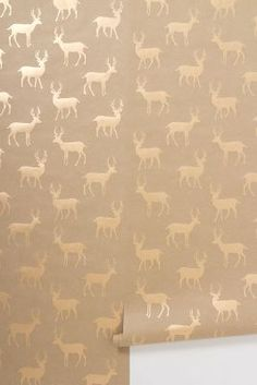 Stag wallpaper cute house made with strips of wallpaper. blue grey living room, the colors of driftwood this wallpaper! Stag Wallpaper, Graphic Wallpaper, Home Wallpaper, Eclectic Wallpaper, Metallic Wallpaper, Bathroom Wallpaper, Print Wallpaper, Living Colors, Do It Yourself Furniture