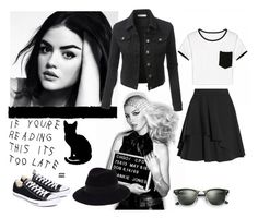 """""""Classic"""" by katykitty5397 ❤ liked on Polyvore featuring Too Late, Converse, Ray-Ban, Maison Michel, Alexander McQueen, Tim Holtz, LE3NO, classic and blackandwhite"""